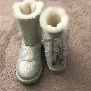 Silver bow Ugg boots
